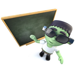 3d Funny cartoon frankenstein halloween monster standing in front of a blackboard