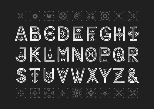 Vector capital alphabet. Decorative letters with patternded negative space.