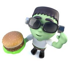 3d Funny cartoon frankenstein halloween monster eating a cheeseburger