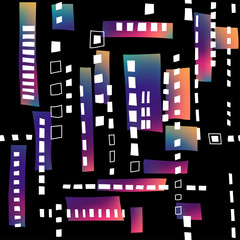 Seamless structure of stylized residential district. Black pattern with white windows and fluid gradient rectangles.