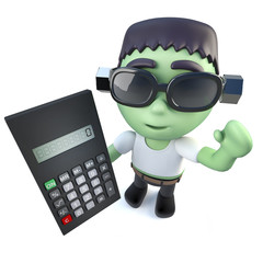 3d Funny cartoon frankenstein halloween monster holding a calculator.