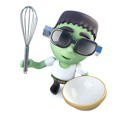 3d Funny cartoon frankenstein halloween monster mixing a cake