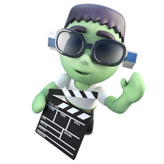 3d Funny cartoon frankenstein halloween monster holding a clapperboard