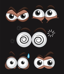 Eye expressions on black background