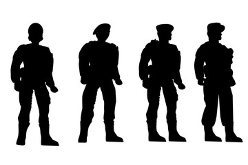 Set of Silhouette of Four Soldier, Low Angle Perspective