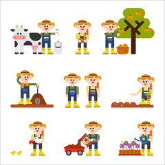 farmer character and various situation. vector flat design illustration set