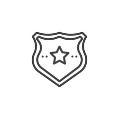 Police badge outline icon. linear style sign for mobile concept and web design. Sheriff badge with star simple line vector icon. Symbol, logo illustration. Pixel perfect vector graphics