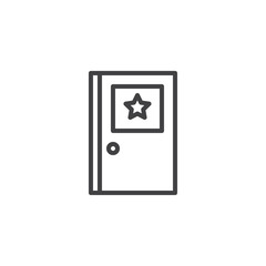 Police door outline icon. linear style sign for mobile concept and web design. Sheriff's office simple line vector icon. Symbol, logo illustration. Pixel perfect vector graphics
