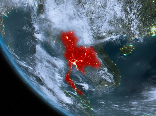 Night view of Thailand on Earth
