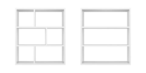 White empty bookshelf template. Realistic isolated vector.