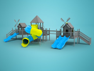 Modern playground for children black and white two blue slides and a yellow insert 3d rendering on a blue background with a shadow