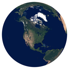 Earth from space. Satellite image of planet Earth. Photo of globe. Isolated physical map of North America (United States (USA), Mexico, Canada, Guatemala). Elements of this image furnished by NASA.