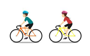 man and girl riding bike.