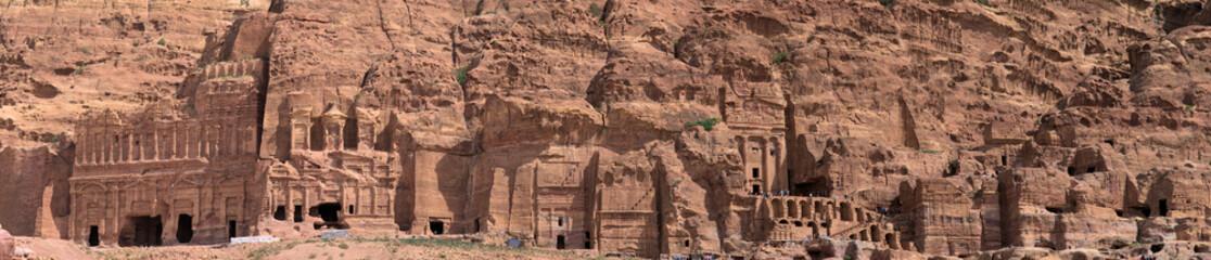 High resolution panorama of the rock city of Petra, Wadi Musa, Jordan, composed of several photos,