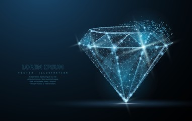 Diamond. Low poly wireframe mesh. Jewelry, gem, luxury and rich symbol, illustration or background