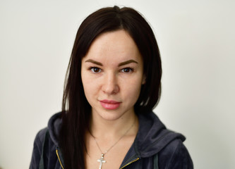 portrait of a girl squinting eyes