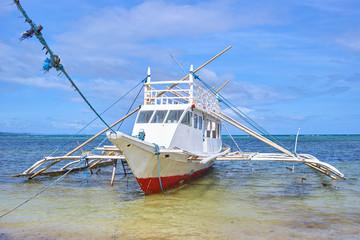 Bangka fishing boat on the Boracay bay, Philippines