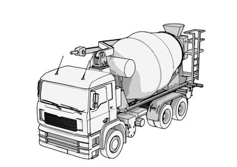 sketch of concrete mixer vector
