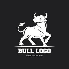 White bull icon on a black background