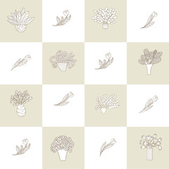 Seamless pattern with cute small cartoon plants and flowers in pots and tulips. Checkered background.