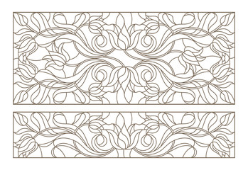 Set of contour stained glass illustrations with abstract symmetrical Tulip flowers, dark contours on white background, horizontal orientation