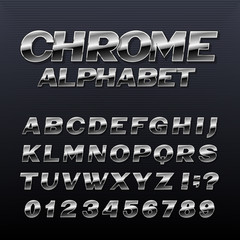 Chrome effect alphabet font. Metal numbers, symbols and letters. Stock vector typeface for any typography design.