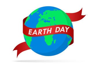 World Earth Day poster with globe and ribbon. Vector illustration.