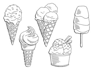 Ice cream dessert graphic black white isolated set sketch illustration vector