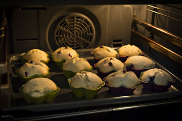 Muffins cooking in the oven