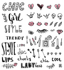A set of grunge hand draw doodles and words about fashion. Vector illustrations.