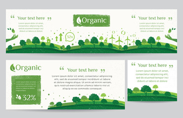 Vector set of nature, ecology, organic, environment banners. Web banner of Clean green environment with grunge style Wall mural