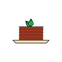 Cake Slice Food Thin Line Icon Illustration