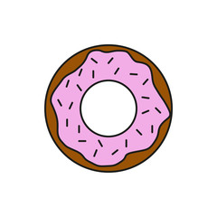 Chocolate Strawberry Donut Food Thin Line Icon Illustration