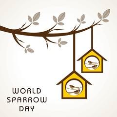 Cute sparrow card for world sparrow day.