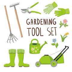 Gardening tool set, isolated on white background
