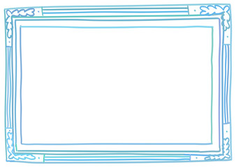 Hand drawn horizontal blue frame, isolated on white background