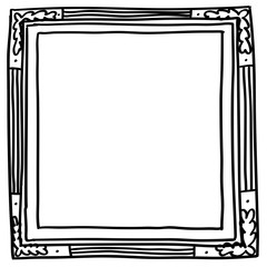 Hand drawn square black frame, isolated on white background