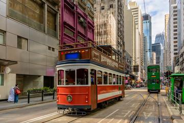 Old trams in Hong Kong Street
