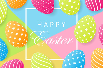 Easter card with egg. Creative 3D eggs with pattern. Vector illustration