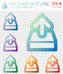 Upload outline geometric polygonal icons. Breathtaking mosaic style symbol collection. Perfect low poly style. Modern design. Upload outline icons set for infographics or presentation.