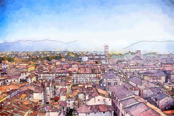 watercolor style, Italy, Lucca