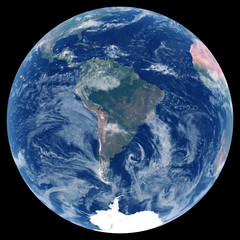 Earth from space. Satellite image of planet Earth. Photo of globe. Isolated physical map of South America (Brazil, Colombia, Argentina, Peru, Venezuela). Elements of this image furnished by NASA.