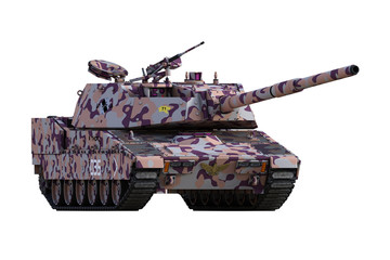 Army tank isolated on white. 3d render