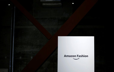 The logo of Amazon Fashion is seen at an unveiling of its new photo studio in Tokyo
