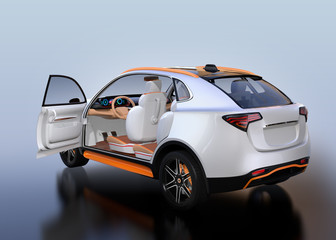 Rear view of white Electric SUV interior on reflective ground. 3D rendering image.