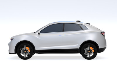 Side view of white Electric SUV concept car isolated on light gray background. 3D rendering image.