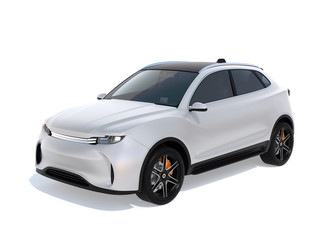 White electric SUV concept car isolated on white background. 3D rendering image. Original design.