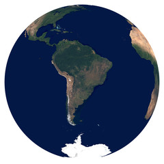 Earth from space. Large satellite image of planet Earth. Photo of globe. Isolated physical map of South America (Brazil, Colombia, Argentina, Peru, Chile). Elements of this image furnished by NASA.