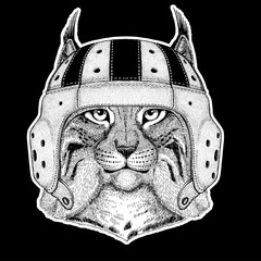 Rugby player. Wild cat Lynx Bobcat Trot Hand drawn image for tattoo, emblem, badge, logo, patch