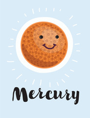 Cartoon planet mercury. Vector clip art illustration with simple gradients. All in a single layer.